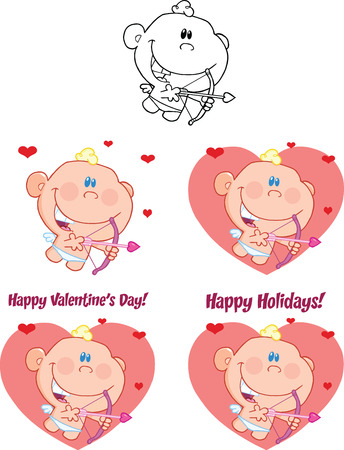 Cute Baby Cupid Cartoon Character  Set Collection Vector