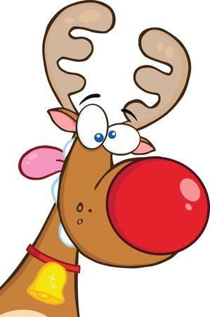 nariz roja: Reno loco con Red Nose Cartoon car�cter de la mascota