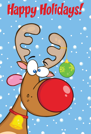 nosed: Happy Holidays Greeting With Reindeer With Christmas Ball Illustration