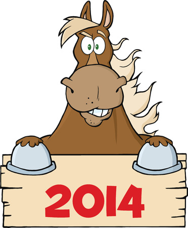 brown horse: Brown Horse Looking Over A Blank Wood Sign With Numbers 2014  Illustration Isolated on white