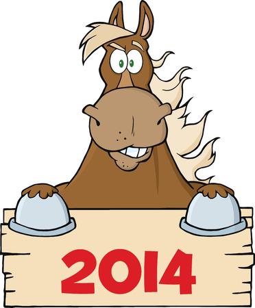 pancarte bois: Brown Horse regard sur un bois signe blanc avec des chiffres 2014 Illustration Isol� sur blanc Illustration