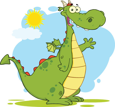 Green Dragon Cartoon Mascot Character Waving  Illustration Isolated on white Vector