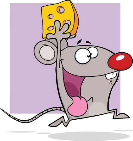 Happy Gray Mouse Cartoon Mascot Character Running With Cheese  Illustration Isolated on white Vector