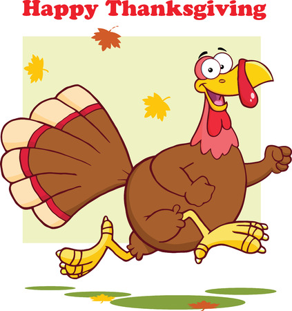 thanksgiving art: Happy Thanksgiving Greeting With Turkey Bird Running  Illustration Isolated on white