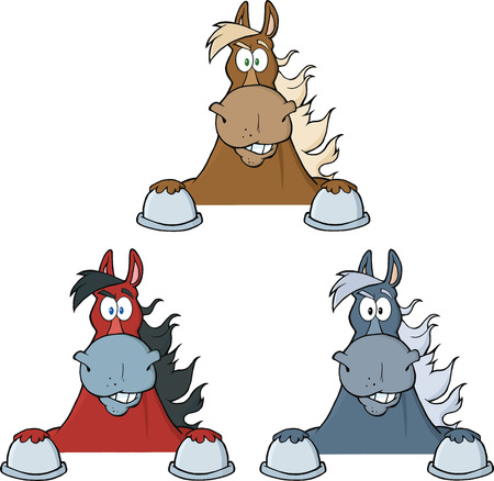 Horses Cartoon Character Looking Over A Sign  Collection Set Vector