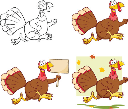 running fast: Cute Turkey Cartoon Character  Collection Set