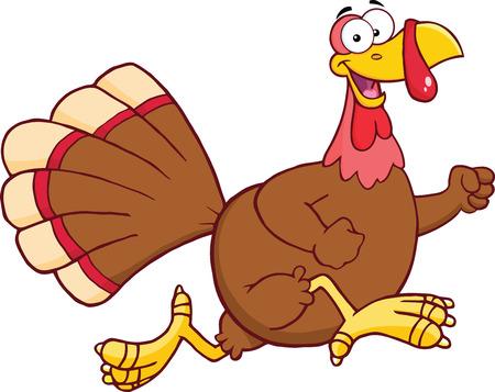 divertido: Carácter corriente feliz Ilustración Turquía Bird dibujos animados aislado en blanco