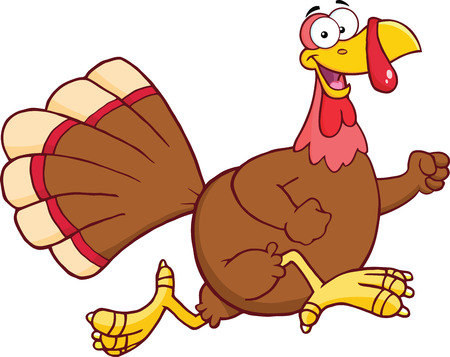 Happy Turkey Bird Cartoon Character Running  Illustration Isolated on white