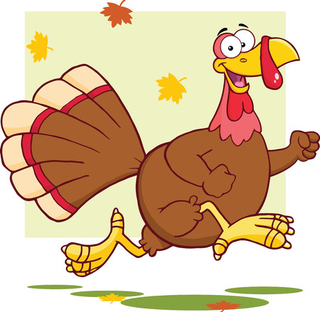 thanksgiving turkey: Happy Turkey Bird Cartoon Mascot Character Running  Illustration Isolated on white