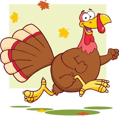 happy holidays: Happy Turkey Bird Cartoon Mascot Character Running  Illustration Isolated on white