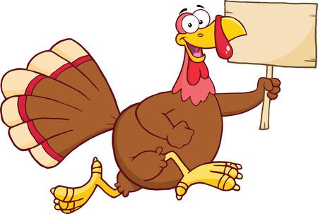 thanksgiving day symbol: Esecuzione Felice Turchia Uccello Cartoon Character con un vuoto Insegne di legno illustrazione isolato su bianco