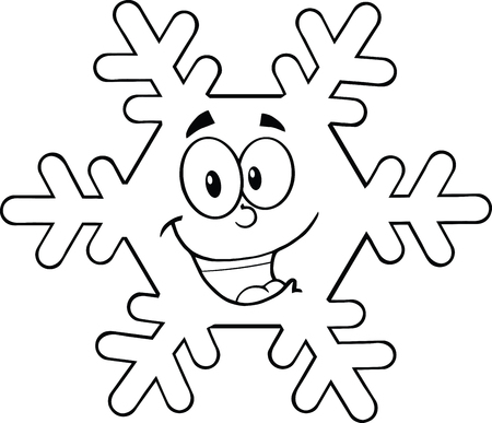 Black And White Snowflake Cartoon Mascot Character  Illustration Isolated on white Vector