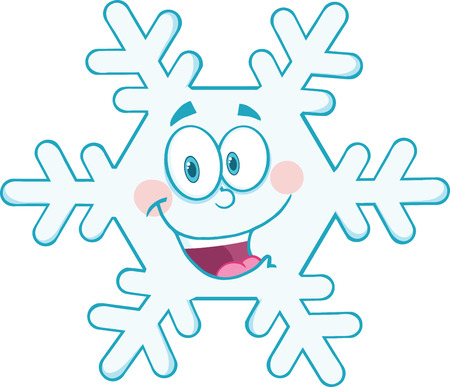 coldness: Snowflake Cartoon Mascot Character  Illustration Isolated on white