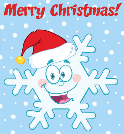 coldness: Merry Christmas Greeting Snowflake Cartoon Mascot Character With Santa Hat