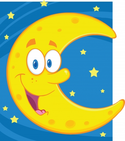 Smiling Crescent Moon Over Blue Sky With Stars Vector