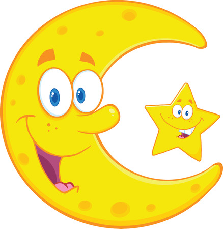 Smiling Crescent Moon And Happy Little Star Cartoon Characters  Illustration Isolated on white