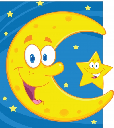 Smiling Crescent Moon And Little Star Cartoon Characters Vector
