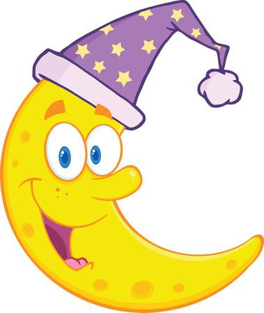 모자 만화 마스코트 캐릭터 일러스트는 흰색에 고립 잠자는 귀여운 문 미소