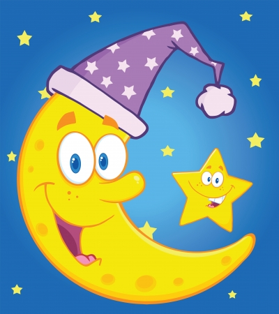 star cartoon: Smiling Crescent Moon With Sleeping Hat And Happy Little Star Cartoon Characters