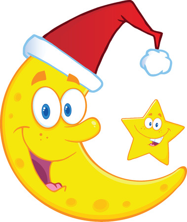 Crescent Moon With Santa Hat And Christmas Star Cartoon Characters  Illustration Isolated on white Vector