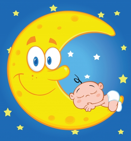 Cute Baby Boy Sleeps On The Smiling Moon Over Blue Sky With Stars Vector