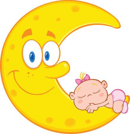 Cute Baby Girl Sleeps On The Smiling Moon Cartoon Characters