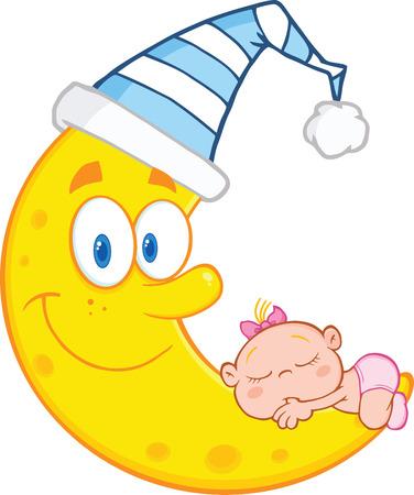Nettes Baby schläft auf dem Mond Lächeln mit Schlafmütze