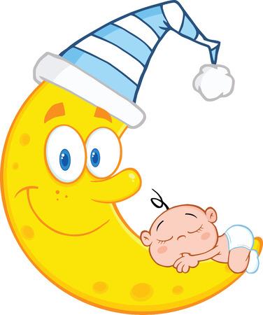 Bebé lindo que duerme en la luna sonriente con el sombrero de dormir