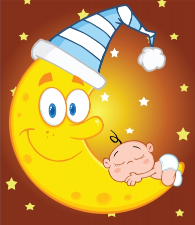 Cute Baby Boy Sleeps On The Moon With Sleeping Hat Over Sky With Stars Vector