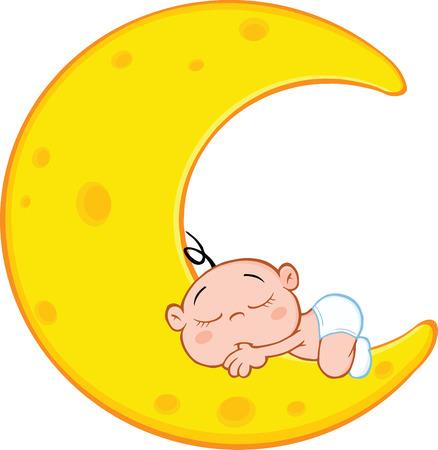 Cute Baby Boy Sleeps On Moon Cartoon Character Vettoriali