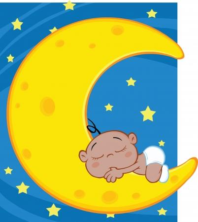 hispanic boy: Cute African American Baby Boy Sleeps On Moon Over Blue Sky With Stars Illustration