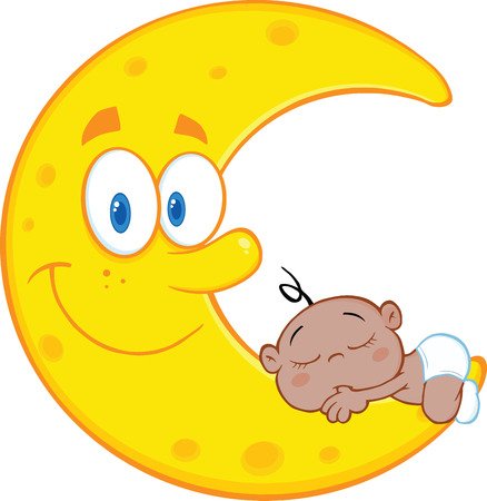 sleeps: Cute African American Baby Boy Sleeps On The Smiling Moon