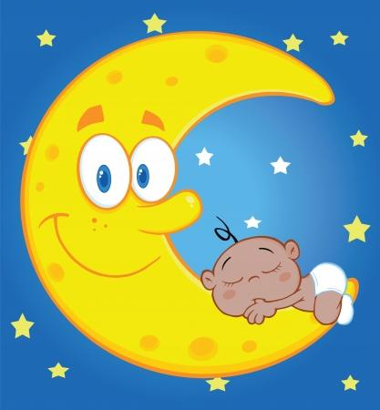 sleeps: Cute Baby Boy Sleeps On The Moon Over Blue Sky With Stars