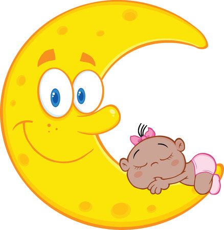 crescent: Cute African American Baby Girl Sleeps On The Smiling Moon Cartoon Characters