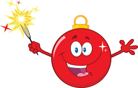 Happy Red Christmas Ball Cartoon Mascot Character Holding A Sparkler