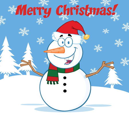 Happy Snowman Cartoon Mascot Character With Open Arms Under Merry Christmas Text