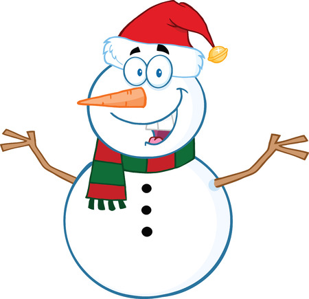 Happy Snowman Cartoon Mascot Character With Open Arms  Illustration Isolated on white Çizim