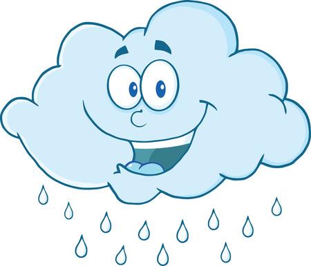 幸せなクラウドのマスコットの漫画のキャラクターを雨が降って