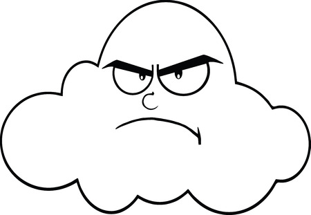 angry sky: Black And White Angry Cloud Cartoon Mascot Character  Illustration Isolated on white Illustration
