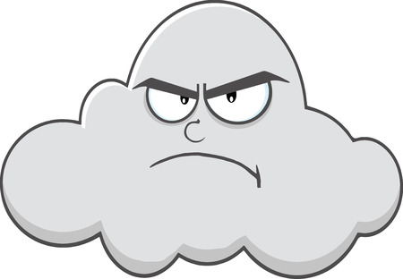 angry sky: Angry Cloud Cartoon Mascot Character  Illustration Isolated on white