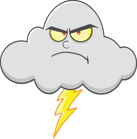 angry sky: Angry Cloud With Lightning Cartoon Mascot Character  Illustration Isolated on white