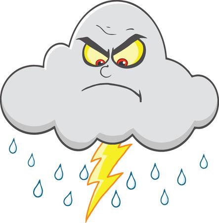 wolken: Verärgerte Wolke mit Blitz und Regen Illustration auf weißem