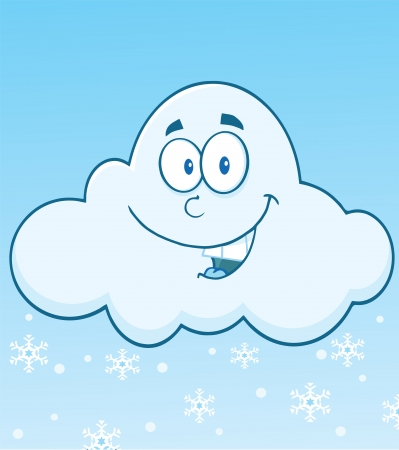 Smiling Cloud With Snowflakes Cartoon Mascot Character Vector