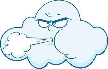 viento soplando: Nube con la cara que sopla viento de dibujos animados mascota Ejemplo del car�cter aislado en blanco
