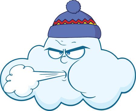 foukání: Cloud s tváří fouká vítr Kreslená postavička ilustrace izolovaných na bílém