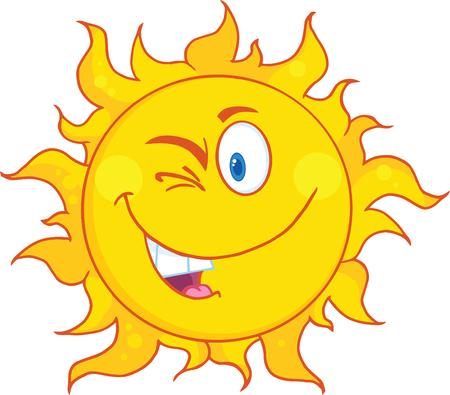 Winked Sun Cartoon Mascot Character Ilustracja
