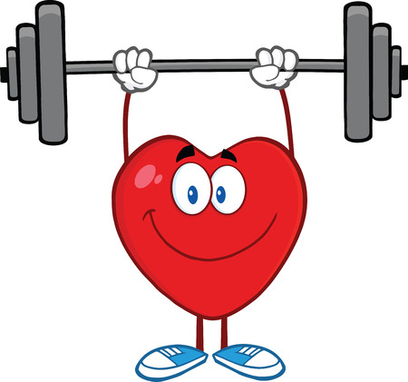 Smiling Heart Cartoon Mascot Character Lifting Weights Ilustracja