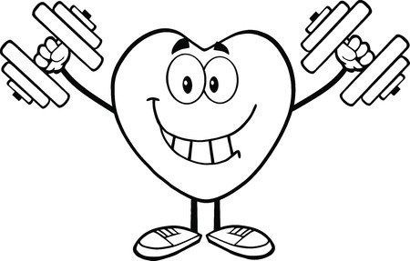 Black And White Smiling Heart Cartoon Mascot Character Training With Dumbbells Vector
