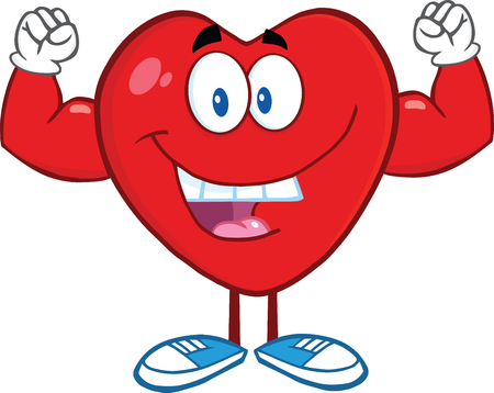 Happy Heart Cartoon Mascot Character Showing Muscle Arms