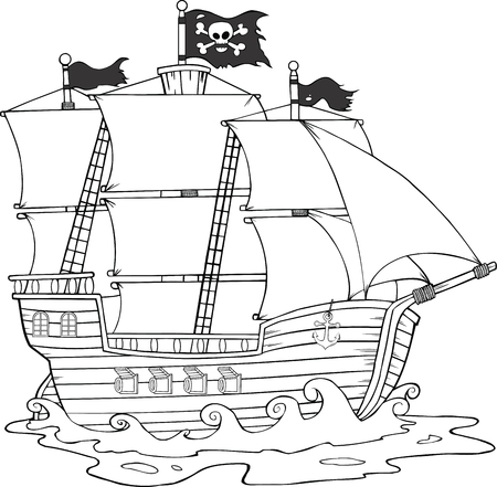 Black And White Pirate Ship Sailing Under Jolly Roger Flag